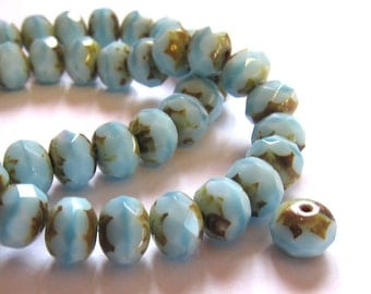 Baby blue glass beads, Czech rondelle beads, 8x6mm beads, Picasso beads, 12 Czech beads, Destash