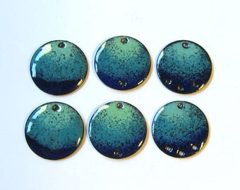Enamel charms Enameled copper disc components Handmade aqua green and blue jewelry findings Pair of connectors