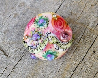 Lampwork Bead - Glass Bead - Focal Bead - Statement Bead - floral - pink - pastel - watercolor flowers