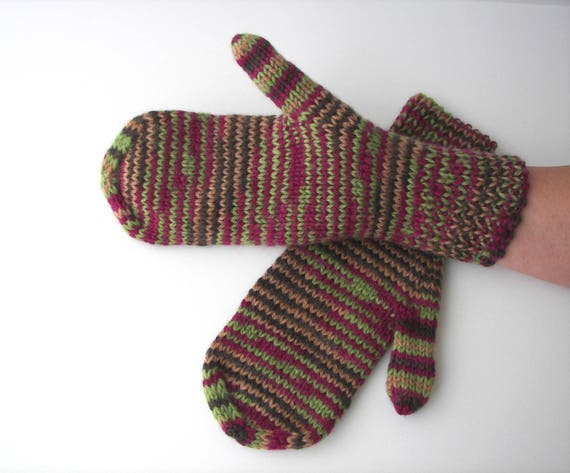 Hand Knit 100% WOOL Striped Mittens in Magenta Green multi  / Kimono Classic Wool / Ready to Ship