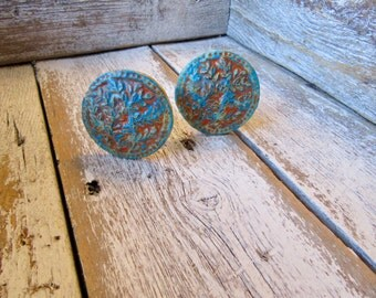 2 Tree Knobs in Orange and Blue Farmhouse Rustic Cottage Style for Drawers Cabinets Raised Design Ready to Ship Limited Edition Set B-11