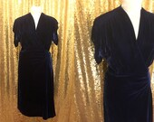 1940s Velvet Dress // Vintage Party Dress // 40s Cocktail Dress // Blue Silk Velvet Dress // Royal Blue Dress