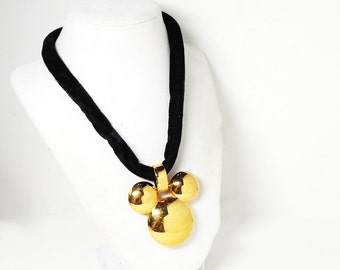 Napier Disney Mickey Mouse Necklace - Gold Tone Pendant on Velveteen Cord - Designer Signed - Vintage Modern Pre 1980's 1990's Choker Length