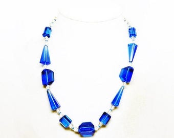 """Art Deco Crystal Glass Necklace - Royal Blue & Clear Beaded Choker - Faceted Beads - Sterling Silver Clasp - Vintage 1930s 1940s - 18.5"""""""