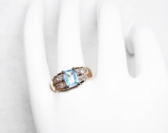 Blue Topaz  & Crystal Rhinestones Ring - Sterling Silver with Square and Emerald Cut Stones - Light Aqua Blue Birthstone Colored Gemstone