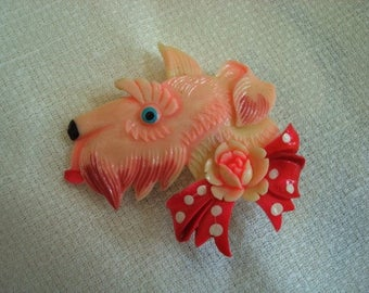 Vintage 1940s Celluloid Scottie Dog with Bow Tie and Rose Pin Made in Occupied Japan