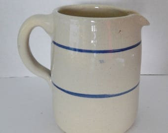 Crock Pottery Milk Pitcher Salt Glazed Cobalt Blue Bands Stoneware Crockery VTG