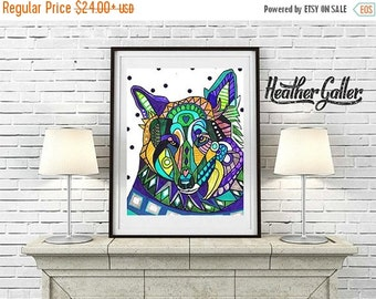 50% Off Today- German Shepherd art dog Poster Print of painting by Heather Galler