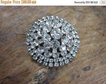 On Sale Vintage Brooch. Rhinestone Pin. Massive Coat Hat Pin