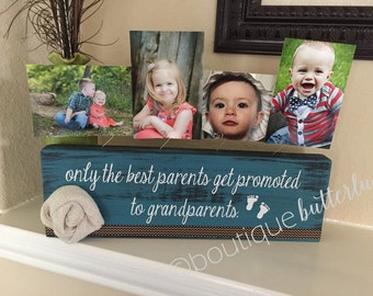 Only the best parents get promoted to grandparents frame gift for grandma personalized gift nana papa