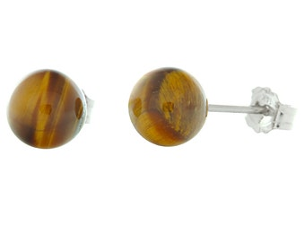 White Gold Tigers Eye Earrings, Ball Stud Earrings, 14K White Gold Posts, Tigers Eye Ball Studs, White Gold Friction Backs, Brown Tigers Eye