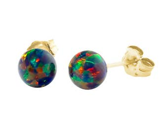6mm Black Australian Opal Ball Stud Post Earrings Solid 14k White or Yellow Gold, Black Opal Earrings, Bridemaid Earrings, Australian Opal