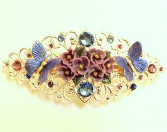 Lavender Flower Garden,Swarovski Crystal Barrette,Blue Butterflies,Vintage Style,Silvertone Filigree,Bride Accessory,Bridesmaid Gift, OOAK