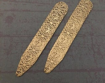 Collar Stays - Embossed Brass Collar Stays - Lotus Flower - Mens Gift - Gifts For Him - Useful Gift - Gifts For Guys - Metal Collar Stays