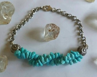 Double Wave Aqua blue Sleeping Beauty Turquoise Gemstone nuggets and Fine Silver Swirl shell Chain bracelet