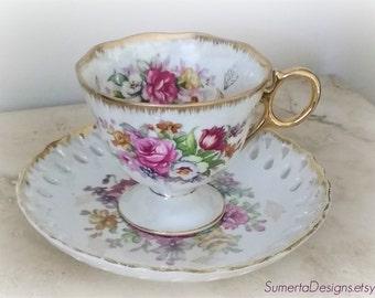 Saji Japan tea cup ~ floral lusterware tea cup ~ 1940s mid century ~ Japanese lusterware ~ teacup ~ pearlized ~ lustrewear ~ irdescent