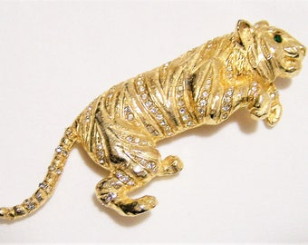 Kramer Rhinestone Pouncing Tiger Pin, Gold Tone Figural Brooch, Mid Century Jewelry, Wild Animal Costume Jewellery  517hs