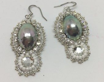 KIT and PATTERN Pave Pearl Earrings with cup chain bead embroidery