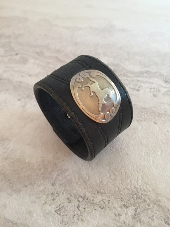 Women's Black Leather Cuff with Horse Charm (Size 6.5 inches)