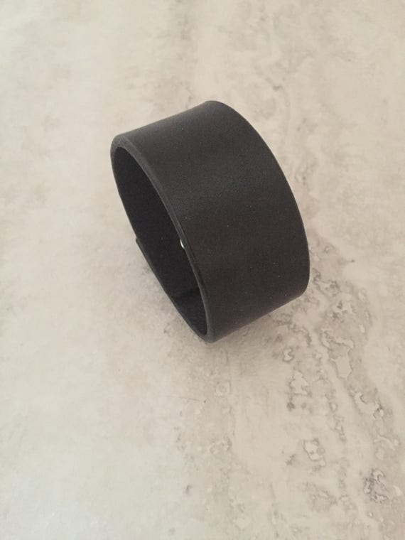 Women's Black Handmade Leather Cuff Bracelet (Size 6.5 inches)