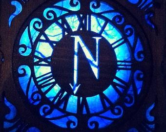 Steampunk Blue Glow lamp. Nautilus box, unisex Attach corsets or belts.