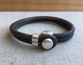 LEATHER CUFF bracelet. Dark BROWN distressed leather with silver half cuff button clasp.