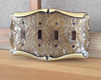 Vintage Brass Amerock Quadruple Switch Plate - Carriage House - 4 gang