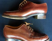 1940s smart brown leather oxford lace ups by Jenners of Edinburgh