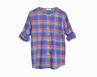 Vintage 90s Blue Plaid Shirt / Collarless Blouse / Back to School Plaid - women's small/medium