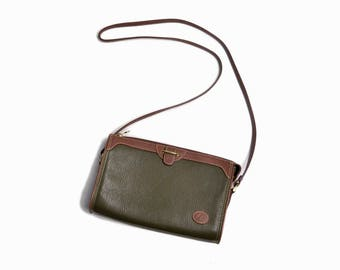 Vintage 90s Green Pebbled Leather Purse / Crossbody Bag