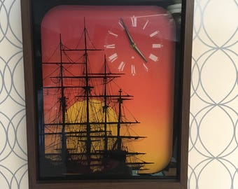 Four Mast Tall Ship Sunset reverse painted RARE large analog wall clock 70s vintage orange and brown boat painting shadow box wall decor