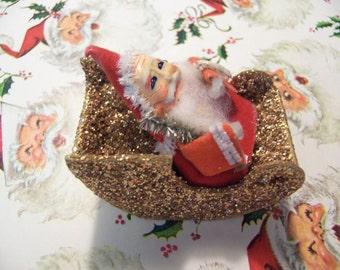 paper santa and sled decoration
