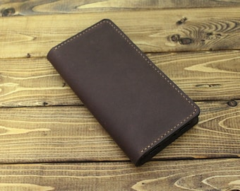 Hand Stitched Android Smartphone Wallet in Soft OILED BROWN (Free Personalization)