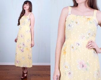 70's Yellow Dress Floral Sundress Spring Midi Hippie Boho Small
