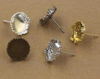 Wholesale 100 Brass Antique Bronzed/ Silver/ Gold/ Gun-metal/ White Gold/ Rose Gold Plated Ear Studs W/ Crown Edged 12mm Round Bezel- Z8744