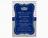 Prince Baby Shower Invitation, Royal Blue Silver Baby Shower Invitation, Little Prince, Silver Glitter, Printable and Printed