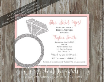 "Bridal/Wedding Shower invitations - Digital file NEW ""She Said Yes - Grey & Coral"" design"