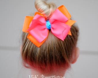 Large Neon hair bow, hair clip, XXL classic bow....Neon colors Pink, Orange and blue, pony-tail, big girl