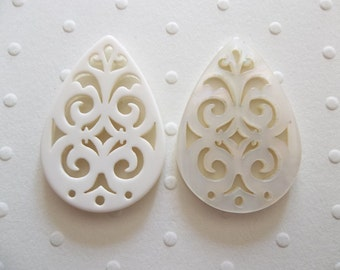 Cream Filigree Teardrop - 40X28mm Connector or Pendant - Lacy Laser Cut - Two-Sided - Lucite from Germany - Qty 1