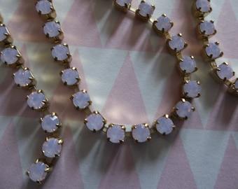 3mm Rose Pink Opal Rhinestone Chain - Brass Setting - Czech Crystals