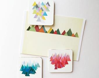 Square Wood Geometric Mountain Fridge Magnets - Abstract Mountains