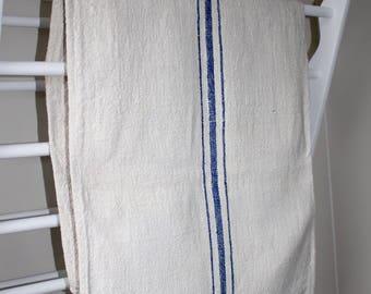 Striped Hungarian Vintage Grain Sack . Blue Stripe Burlap.  Bath Mat. Bedside Rug.