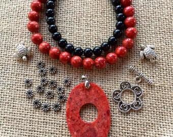 Sponge Coral Black Swan Bead Kit DIY Necklace Kit Beads a Plenty™