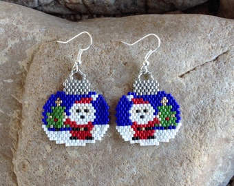 Santa Clause Peyote Beaded Earrings