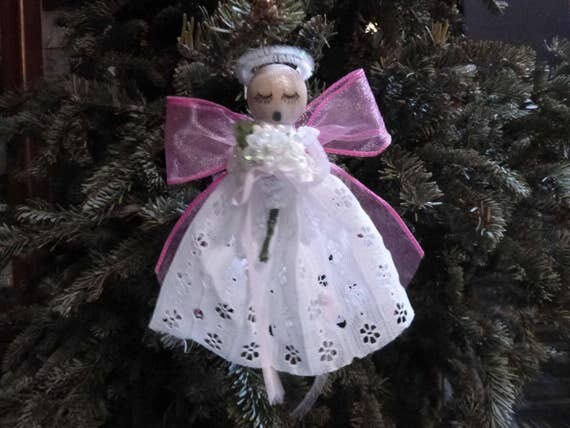 Cancer Angel Ornament - She Sends Healing Thoughts and Prayers - At Christmas or Anytime