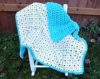 Polka dot baby boy blanket double sided blanket baby boy crochet blanket turquoise baby boy blanket flannel blanket baby boy crochet blanket