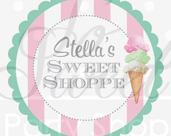 Ice Cream Party Birthday Stickers, Party Favor Labels, Sweet Shop Birthday, Vintage Ice Cream Parlour Birthday Decorations - Set of 24