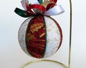 Christmas Ornament -  Red with Gold Holly and White with Gold Glitter