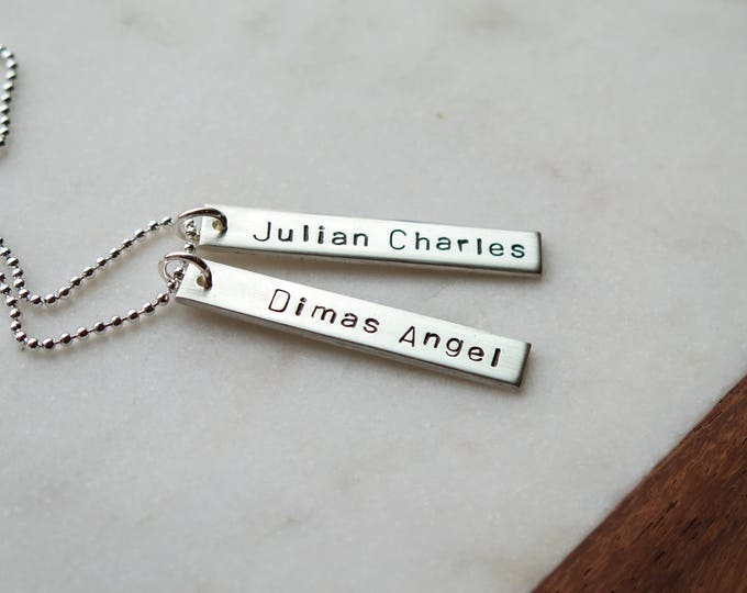 Vertical Name Necklace Double Sided with Birthdates - Hand Stamped - Thick Bar by Betsy Farmer Designs