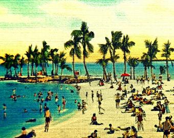 Palm Trees Art, Beach Art Beach, Coastal art, Coastal Decor, 1940s beach Vintage Beach Old Florida art Vintage Style art palm trees on beach